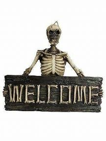 Boney Welcome Skeleton Skull Wall Plaque Gothic Decor